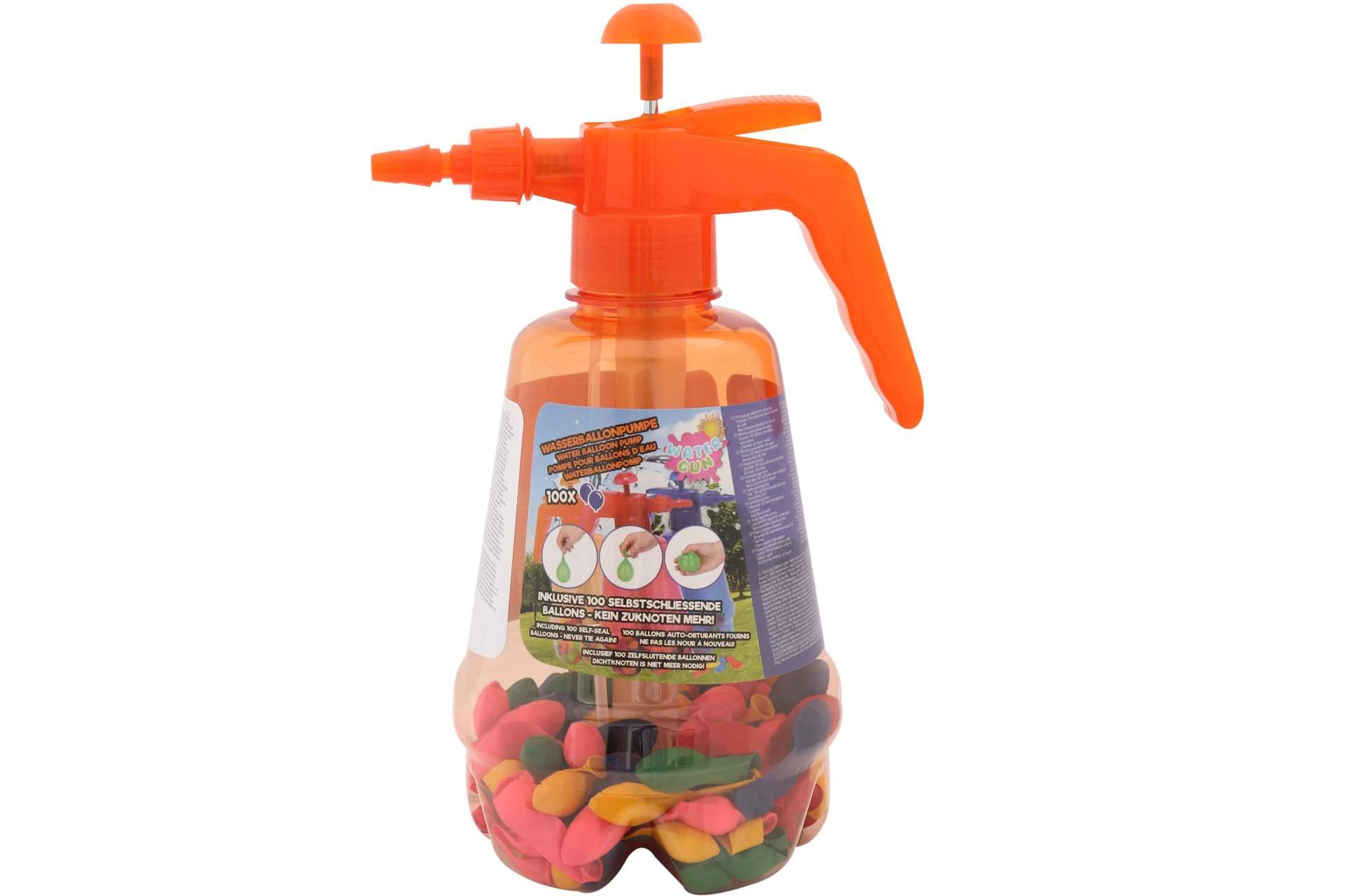 wasserballons 100 stk selbstschlie end ballonpumpe orange spielzeug f r drau en. Black Bedroom Furniture Sets. Home Design Ideas