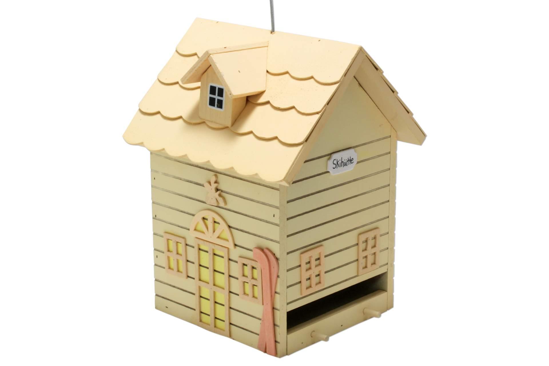 vogelhaus futter villa skih tte h ngend holz gelb dekoration garten artlands onlineshop. Black Bedroom Furniture Sets. Home Design Ideas