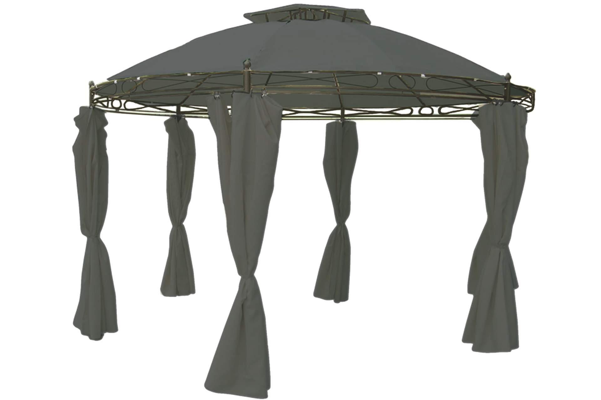 pavillon rund 3 5 m steingrau inkl seitenteile wasserdicht gartenm bel haus und garten. Black Bedroom Furniture Sets. Home Design Ideas