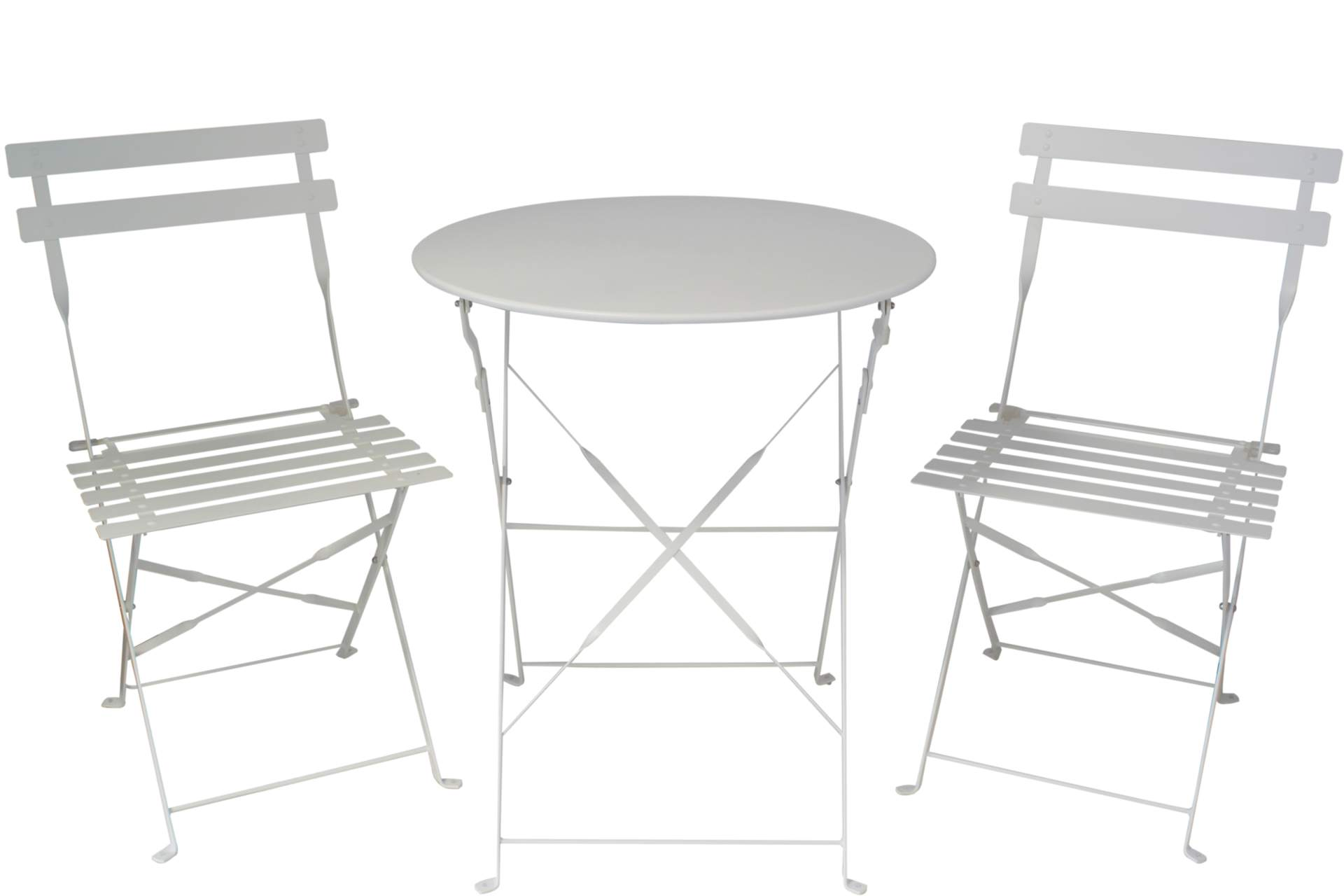 bistro set garnitur 3 tlg sitzgruppe aus metall weiss. Black Bedroom Furniture Sets. Home Design Ideas